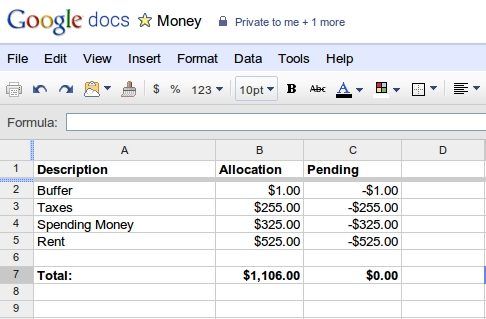how to balance your checking account using a google docs spreadsheet